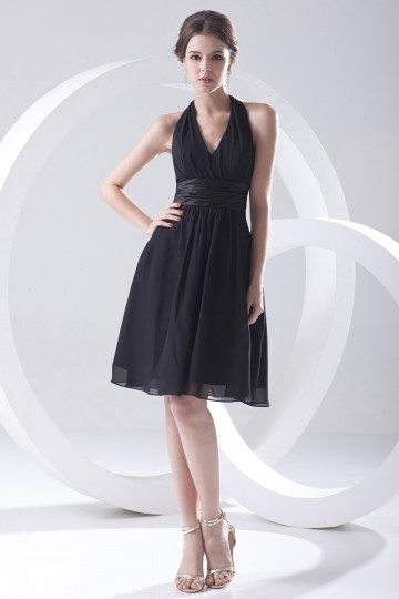 Halter Black Pleated Knee Length Chiffon Bridesmaid Dress