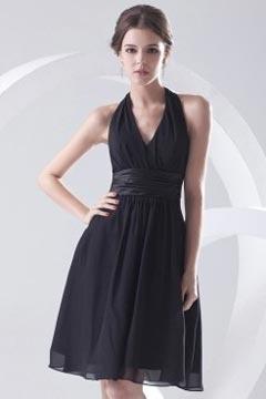 Alton Halter Black Pleated Knee Length Bridesmaid Dress