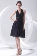 Halter Black Pleated Knee Length Chiffon Formal Bridesmaid Dress