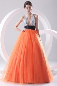 Altrincham Sexy Sequined Color block Prom Gown in Tulle