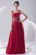Chic Red A Line Square Long Chiffon Sequins Formal Dress