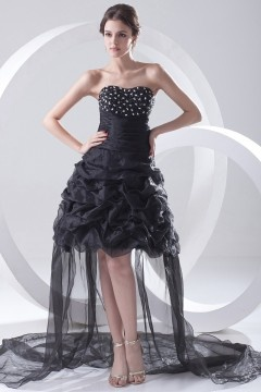 Amesbury Unique High low Strapless Black Prom Gown with Pick Up Skirt