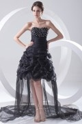 Chic Black High Low Strapless A Line Formal Bridesmaid Dress With Pick Up Skirt