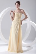 Elegant Beaded Strapless Yellow Chiffon Formal Bridesmaid Dress