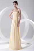 Elegant Beaded Strapless Yellow Chiffon Bridesmaid Dress