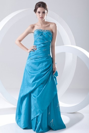 Andover Pretty Strapless Ruched Blue tone Taffeta Prom Gown Persun