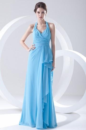 Elegant Halter Ruffles Backless Blue Chiffon Bridesmaid Dress
