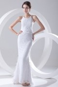 Modern Etui-Linie Weiß Bodenlang Brautkleider aus Spitze