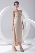 Ruched Strapless Asymmetrical Ankle Length Chiffon Formal Bridesmaid Dress