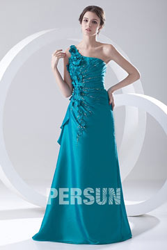 Ruched One Shoulder Appliques Taffeta Blue Evening Dress