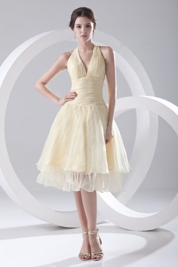 Halter Ruched Knee Length Organza Cocktail Dress