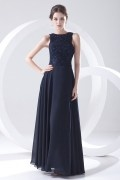 Boat Neck Appliques Beaded Lace Chiffon Blue Evening Dress