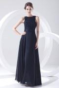 Elegantes Boot-Ausschnitt A-Linie Bodenlanges Abendkleid aus Chiffon