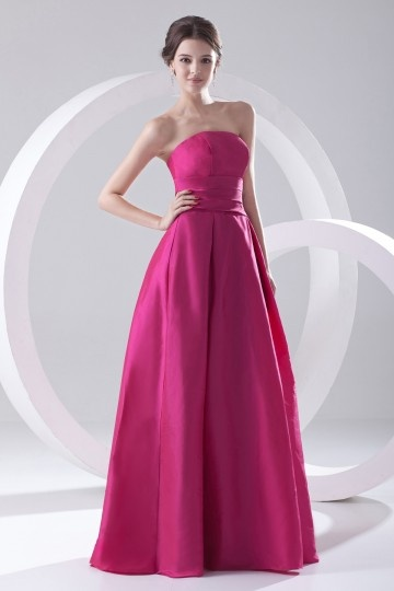 Simple Strapless A Line Empire Satin Bridesmaid Dress