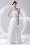 Simple Strapless White Satin Formal Bridesmaid Dress