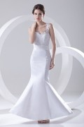 Straps Sweetheart Applique Lace Beaded Mermaid Wedding Dress