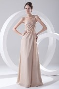 Elegant One Shoulder Ruching Long Chiffon Bridesmaid Dress
