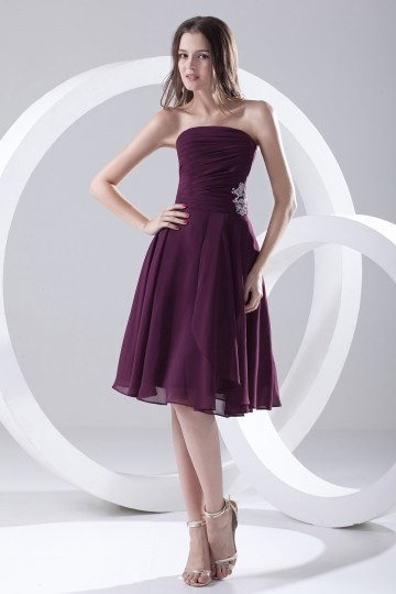 Dressesmall Strapless Pleated Applique Knee Length Chiffon Formal Bridesmaid Dress