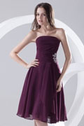Strapless Pleated Applique Knee Length Chiffon Formal Bridesmaid Dress