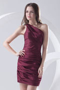 One Shoulder Ruched Satin Short Cocktail Dress