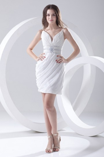 Vestido branco de noite decote V curto