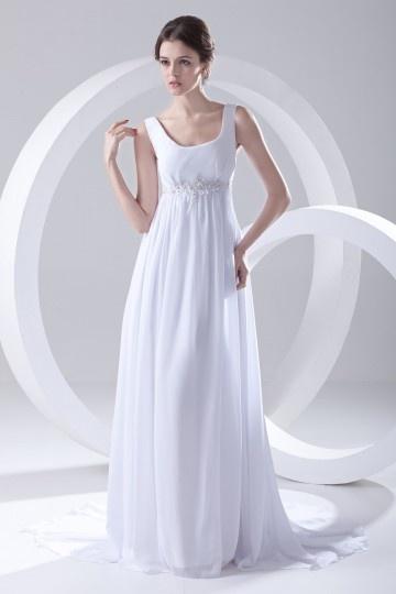 Vestido de noiva longo decote em U Império decorado de apliques