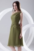 Simple Dark Green One Shoulder Short Ruched Chiffon Bridesmaid Dress