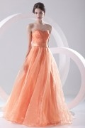 Strapless Beaded Empire Orange Organza Prom Dress