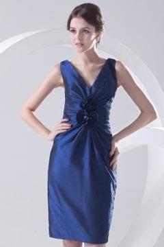 V neck Ruched Flower Taffeta Knee Length Blue Prom Dress