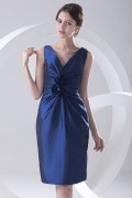 V neck Ruched Beaded Flower Taffeta Knee Length Blue Formal Dress