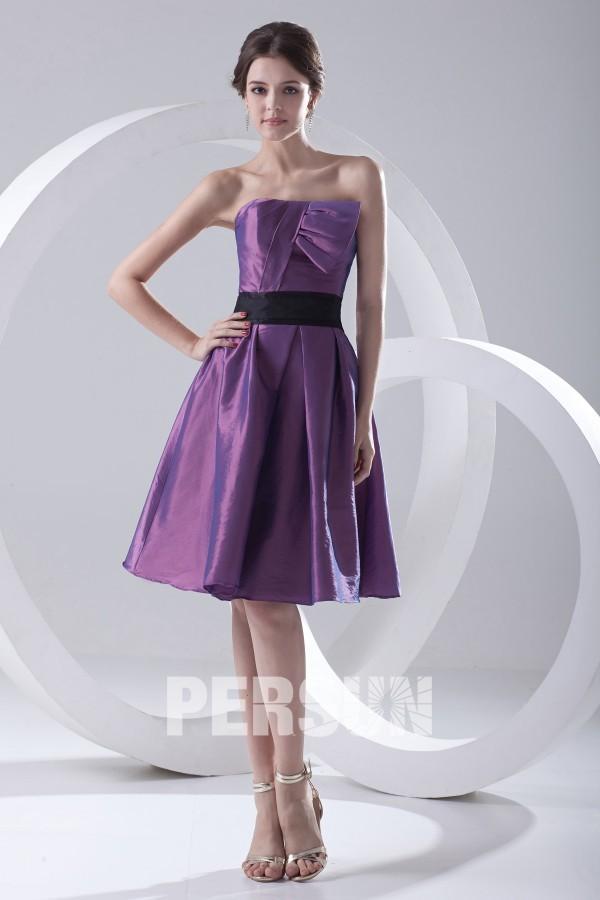 robe demoiselle dhonneur violette bustier en taffetas. Black Bedroom Furniture Sets. Home Design Ideas