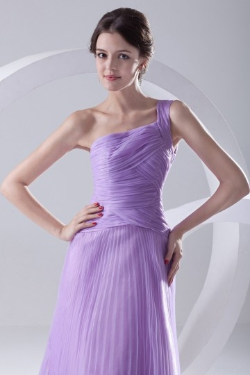 Dressesmall Noble Ruched Pleated One Shoulder Purple Organza Long Evening Dress