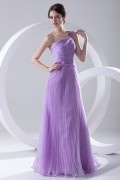 Noble Ruched Pleated One Shoulder Purple Organza Long Evening Dress