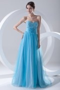 Beaded Strapless Lace Up Empire Tulle Blue School Formal Dress