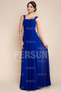 Straps Ruched Square Neck Chiffon Blue Bridesmaid Dress