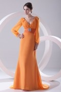 V neck Beaded Empire Long Sleeves Orange Chiffon Formal Bridesmaid Dress