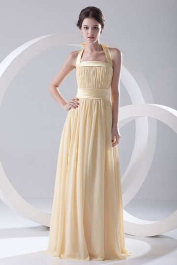 Dressesmall Halter Ruched Empire Yellow Strapless Chiffon Formal Bridesmaid Dress