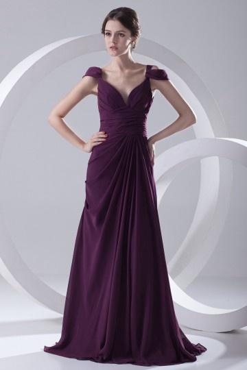 Dressesmall Sexy Backless Ruched V neck Chiffon Purple Long Evening Dress
