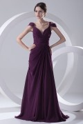 Sexy Backless Ruched V neck Chiffon Purple Long Evening Dress