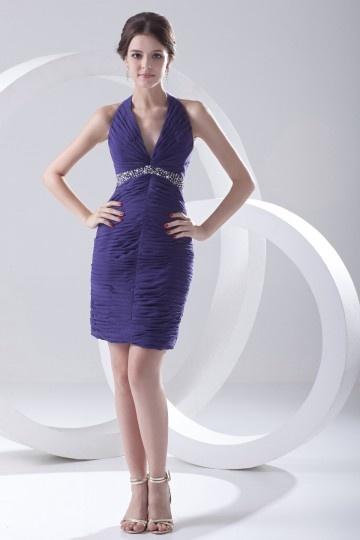 Mini Vestido noite bainha colar de jóias decote meio