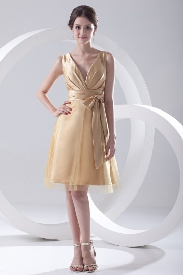 Dressesmall Bowknot Ruched V neck Satin Knee Length Formal Bridesmaid Dress