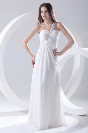 Vestido branco longo um ombro Império