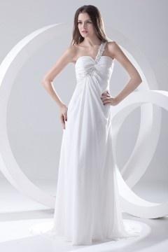 Robe blanche longue à une épaule Empire