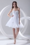 Strapless Appliques Beaded White Organza Short Cocktail Dress