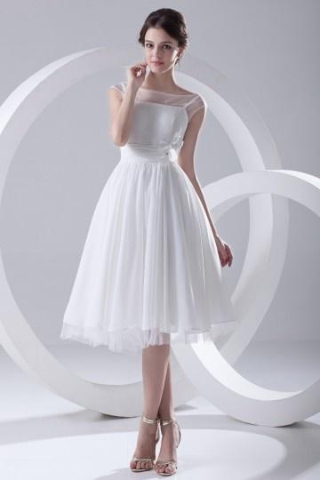 Elegant Sheer Straps Chiffon wedding dress with Flowers