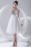 Elegant Sheer Straps Chiffon wedding dress with Flowers