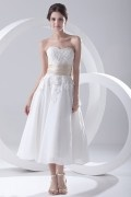 Strapless Appliques Beading Tea Length Chiffon Wedding Dress