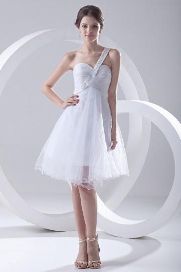 Vestidos de Baile branco um ombro em Tule curto Império