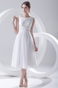 Boat Neck Appliques Chiffon Tea Length Chiffon Formal Gown