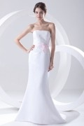 Strapless Beaded Satin Mermaid Wedding Dress with A Pink Bow